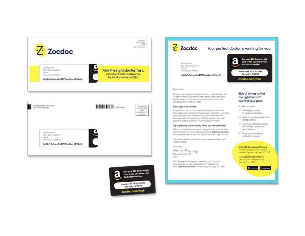 Gunderson Direct, Zocdoc Direct Mail Example